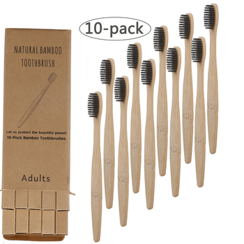 10pcs Environmentally Bamboo Charcoal Toothbrushes Soft Bristles Eco Friendly Oral Care Travel Oral Care Tooth Brush