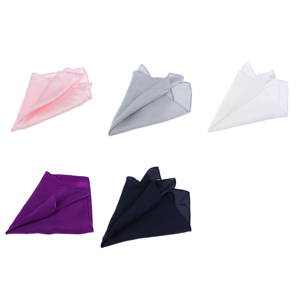 Men's Gentle Pure Mulberry Silk Pocket Square Plain Solid Handkerchief Variety Colors