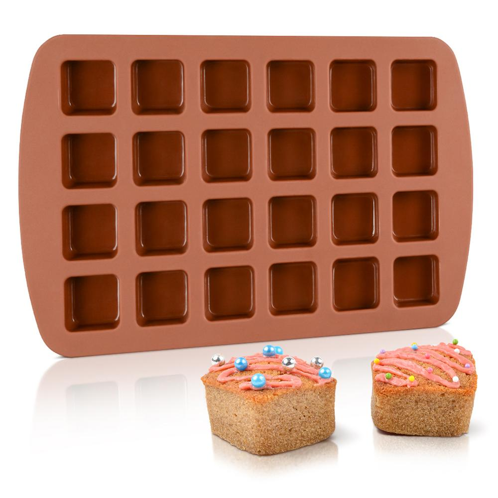 Bite-Size Brownie Square Silicone Mold Small Baking Molds Pan 24-Cavity Mini Muffin Cake Candy Jello Chocolates Ice Cube Mould