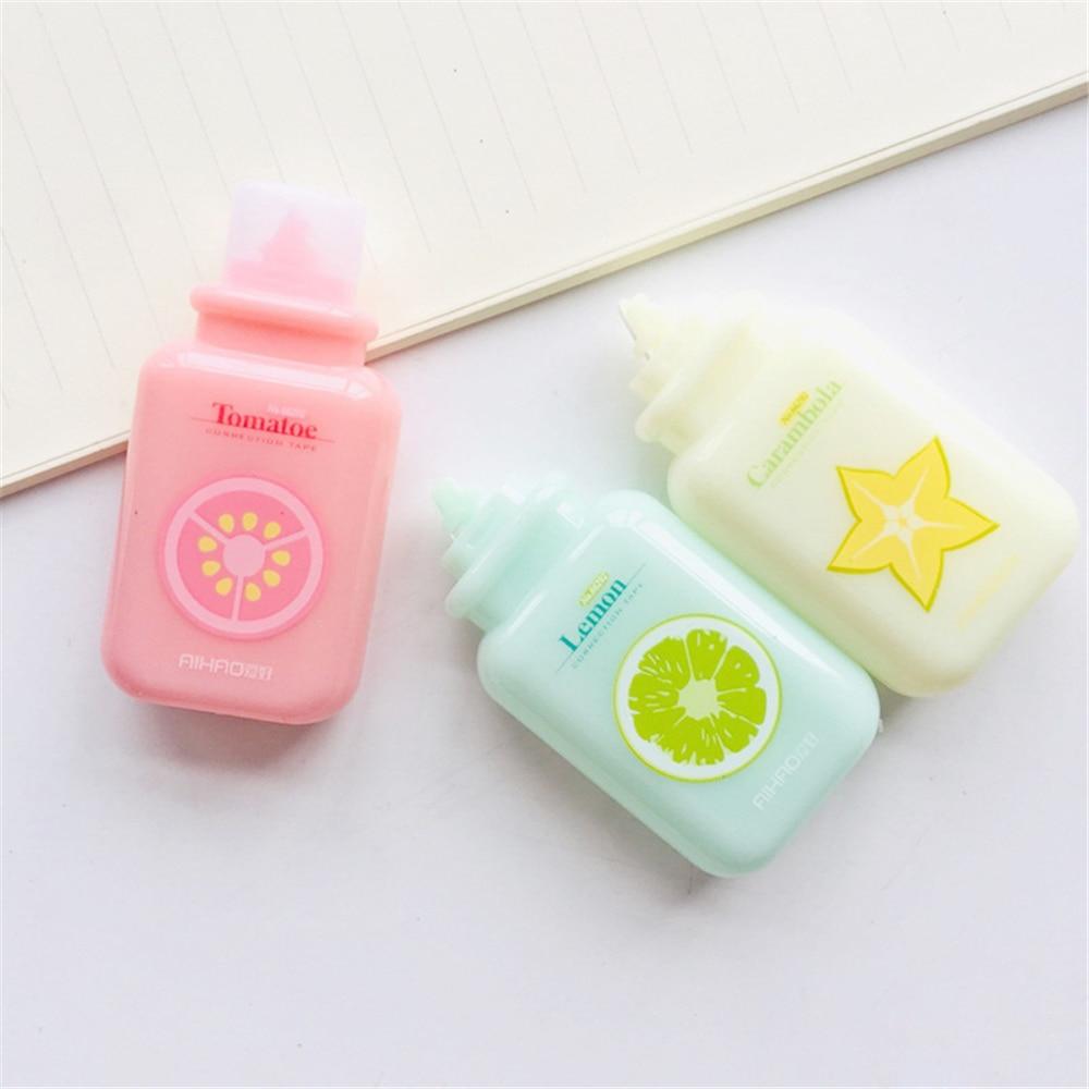 1 Pcs Cute Fruit Milk Bottle Correction Tape Material Kawaii Stationery Office School Supplies