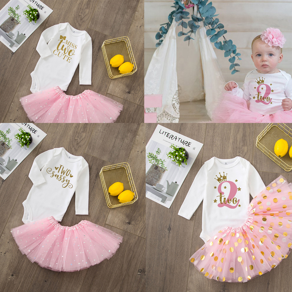 Two Cute Baby Girl 2nd Birthday Cute Pink Tutu Cake Outfits Infant Dresses Girls Baptism Party Dress Clothes Without Glitter