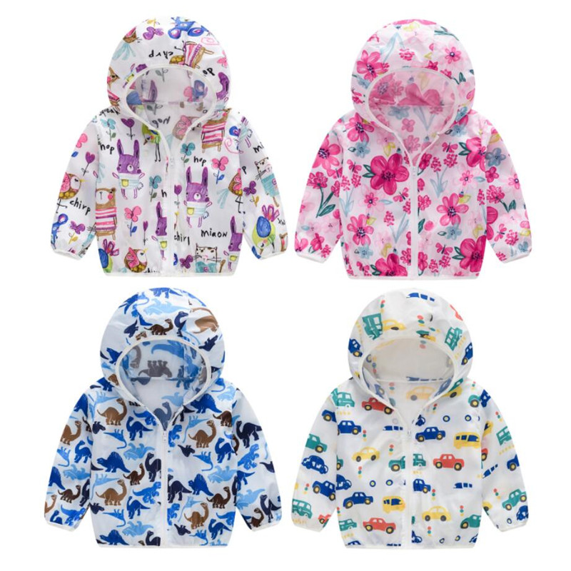 2020 Cute Baby Girl Jacket Boy Hooded Coat Sunscreen Baby Boys Girls Long Sleeved Summer Sun Protection Kids Clothes Outwear