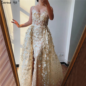 Image 1 - 2020 Pink Sleeveless Handmade Flowers Evening Dresses Crystal Sexy Luxury Tulle Evening Gowns Real Photo LA60717