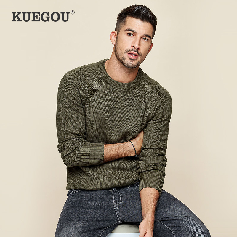 KUEGOU 2020 Spring Cotton Plain Black White Sweater Men Pullover Casual Jumper For Male Brand Knitted Korean Style Clothes 18016