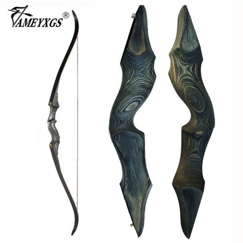 30-60bls 60 Inch Archery Black Hunter Recurve Bow LH/RH Glassfiber Sheet Lamination Process Takedown Bow for Hunting Shooting