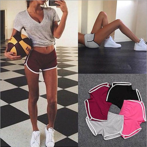 Women Sport Fitness Yoga Shorts Women Athletic Shorts Cool Ladies Sport Running Fitness Jogging shorts for Summer SoildSportwear