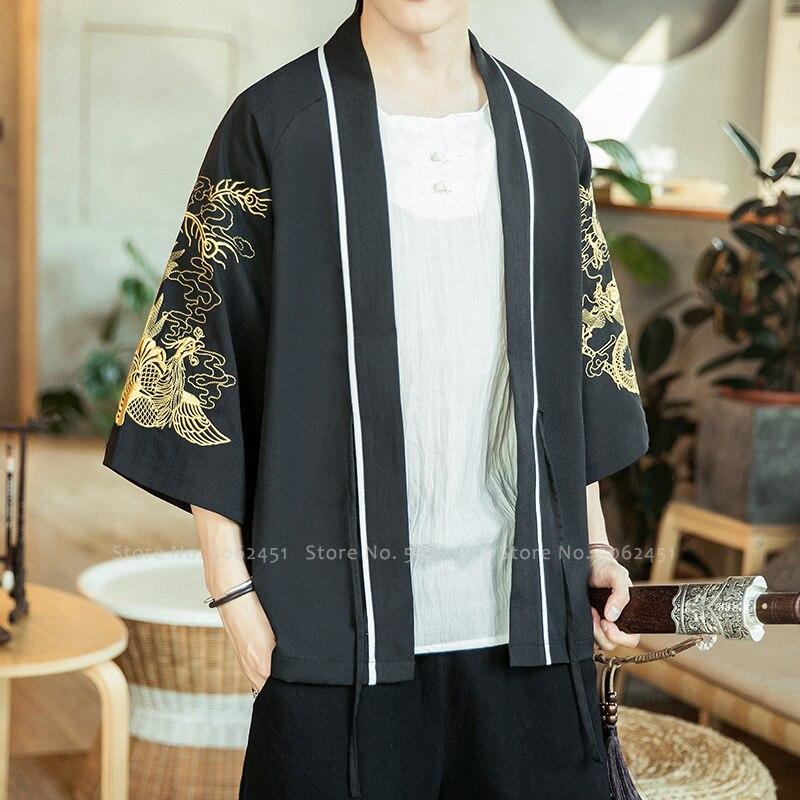 Chinese Style Coat Retro Hanfu Robes Kung Fu Tang Suit Men Japanese Kimono Cardigan Yukata Haori Jackets Dragon Print Streetwear