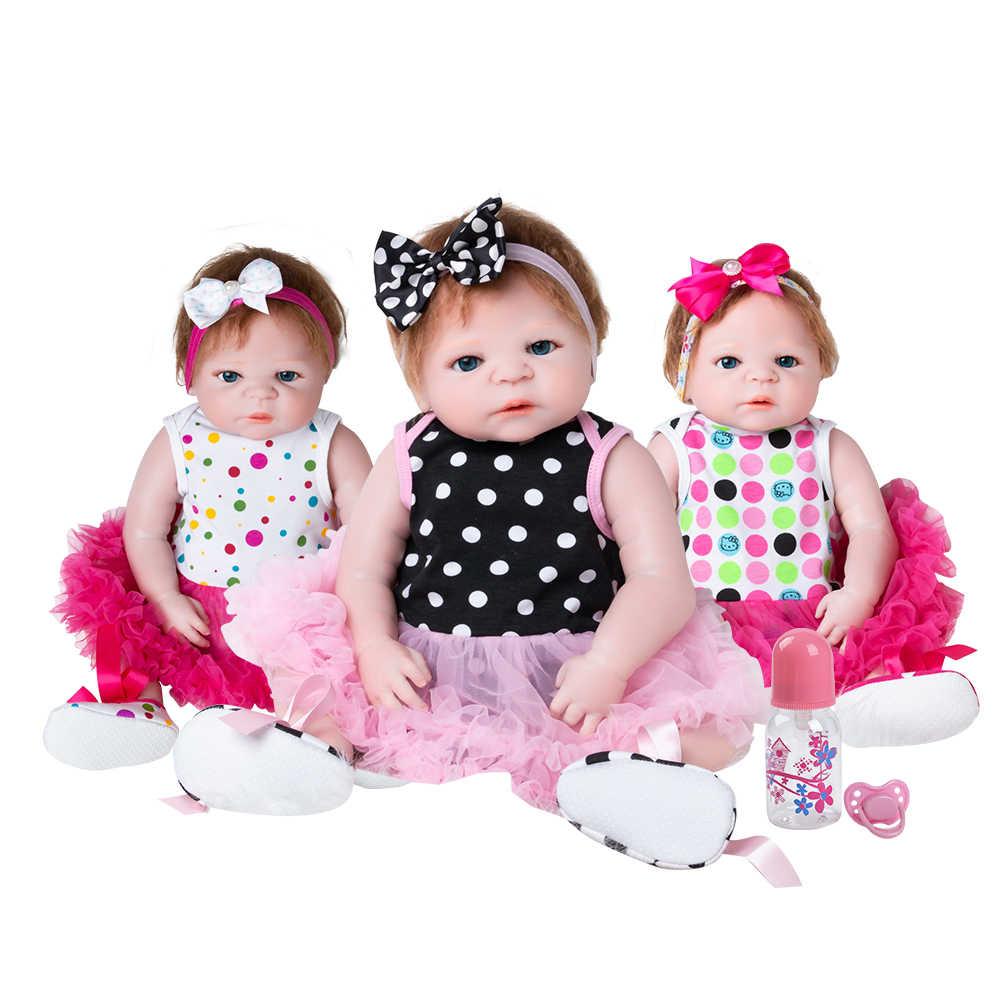 22 Inch Poppen Vol Siliconen Bebes Reborn Meisje Pop Boneca Reborns Pasgeboren Levensechte Nieuwe Collectie