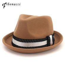 Fibonacci Winter Fedoras High Quality Wool Felt Hats for Women Men Manhattan Structured Gangster Trilby Bowler Jazz Fedora Hat