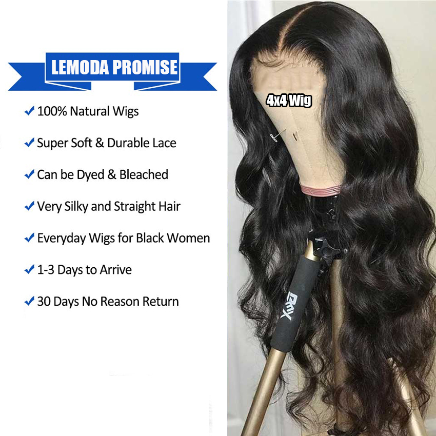 Hd8feb7698ac5483d89f91d9f0027799bD 26 Inch Body Wave Wig Malaysian 4x4 Closure Wig Preplucked Natural Human Hair High Ratio Lemoda 150% Remy Hair Lace Closure Wig
