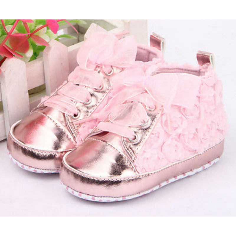 0-18M Newborn Baby Girls Shoes PU Leather Non Slip Pink Lace Floral Embroidered Shoes Prewalker Walking Toddler Kids Shoes