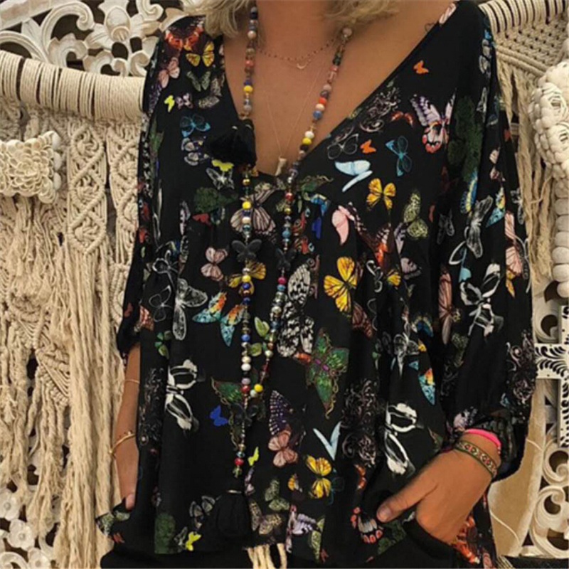 Autumn Women Blouse Plus Size Women Blouses Floral Clothing Long Sleeve Blouse V Neck Shirt Tops Womens Tops And Blouses