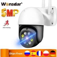 Cámara IP de seguridad PTZ de 5MP para exteriores, videocámara inalámbrica de 1080P con Wifi, Zoom Digital 4X, detección humana de IA, seguimiento automático, P2P