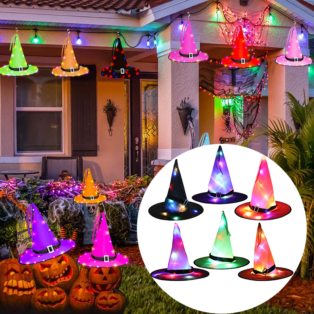 8 colores gorro de bruja Halloween con luz LED brillante brujas sombrero decoración de suspensión de patio al aire libre árbol brillante sombrero para los niños
