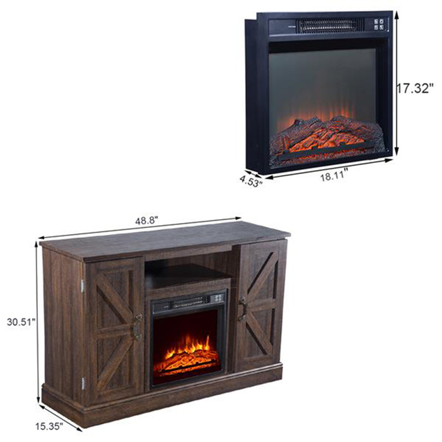 47'' Log Brown TV Cabinet with 1400W Fireplace Heater  5