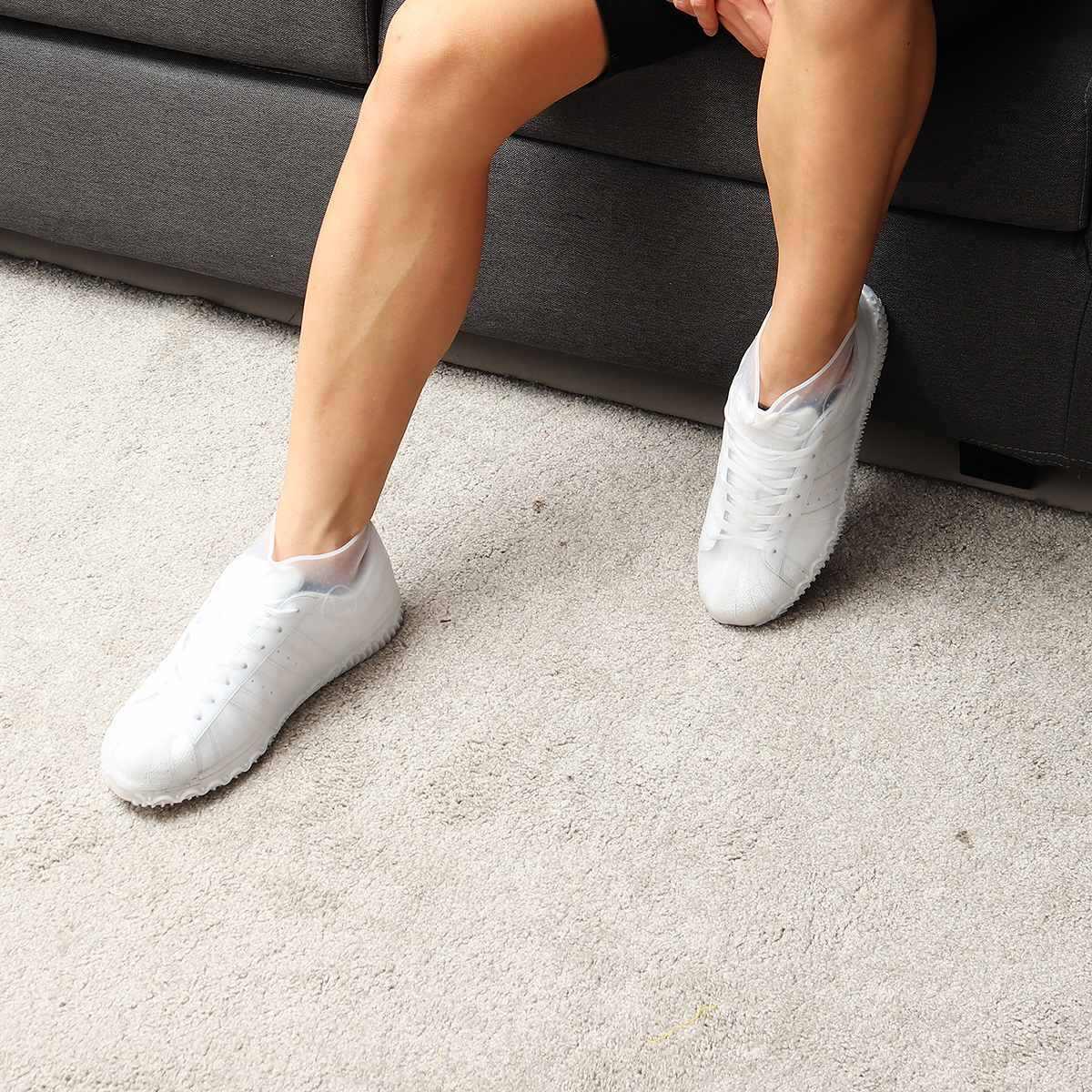 3 أحجام قابلة لإعادة الاستخدام سيليكون الجرم المطر مقاوم للماء عدم الانزلاق أغطية الحذاء غطاء الأحذية حامي عالية الجودة الرجال النساء الأطفال