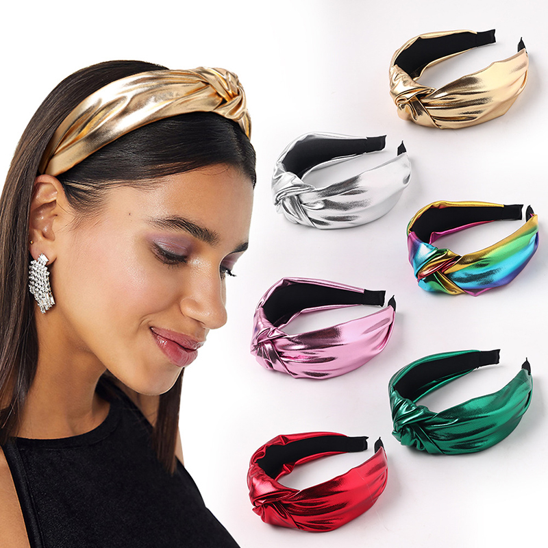 2019 PU Leather Headbands Gold Silver Knotted Hairbands Glitter Headband Solid Color Leather Hair Hoop Women Hair Accessories