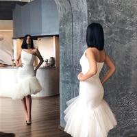 Vestidos de Cóctel blanco puro de un hombro, vestidos de tul de sirena con cremallera en la espalda, vestidos de ocasión especial 2020