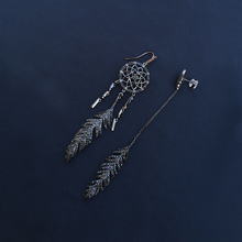 cheny s925 sterling silver new asymmetric mysterious black dream catcher earrings female personality feather long earrings
