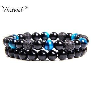 2 pçs pedra de lava natural grânulos pulseiras dos homens moda elástica pulseira para as mulheres azul tigre olho energia pulseira jóias presentes