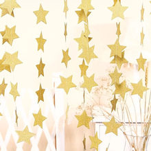 4m Gold Silver Blue Star Bunting Banners Paper Garland Streamers for Birthday Party Decoration Children room Hanging Decorations