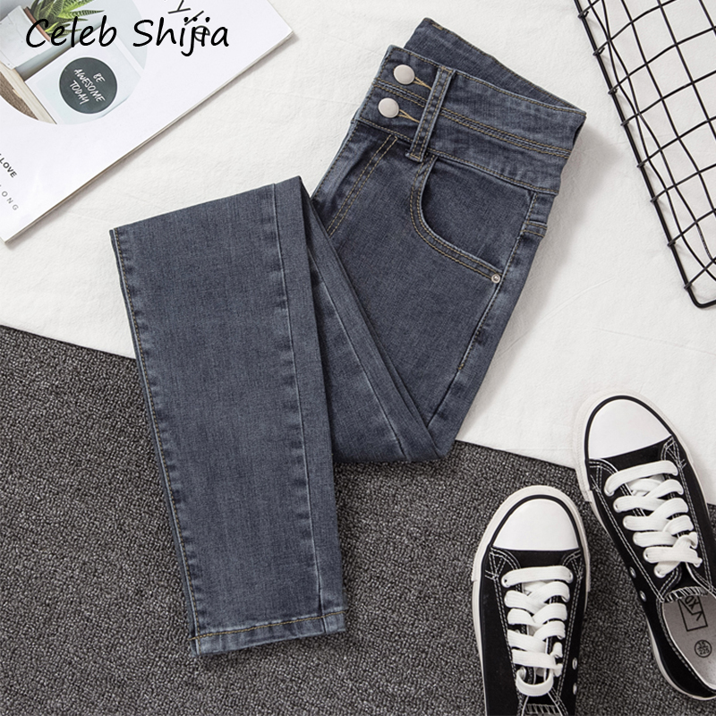 Woman jeans grey stretch high waist elastic New Korean Slim denim pants feet female spring autumn 2019