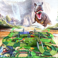 Coche de juguete de vía férrea de dinosaurios para niños, pista de carreras Flexible, pista de carreras, luz Flash, juguetes educativos para niños Gif