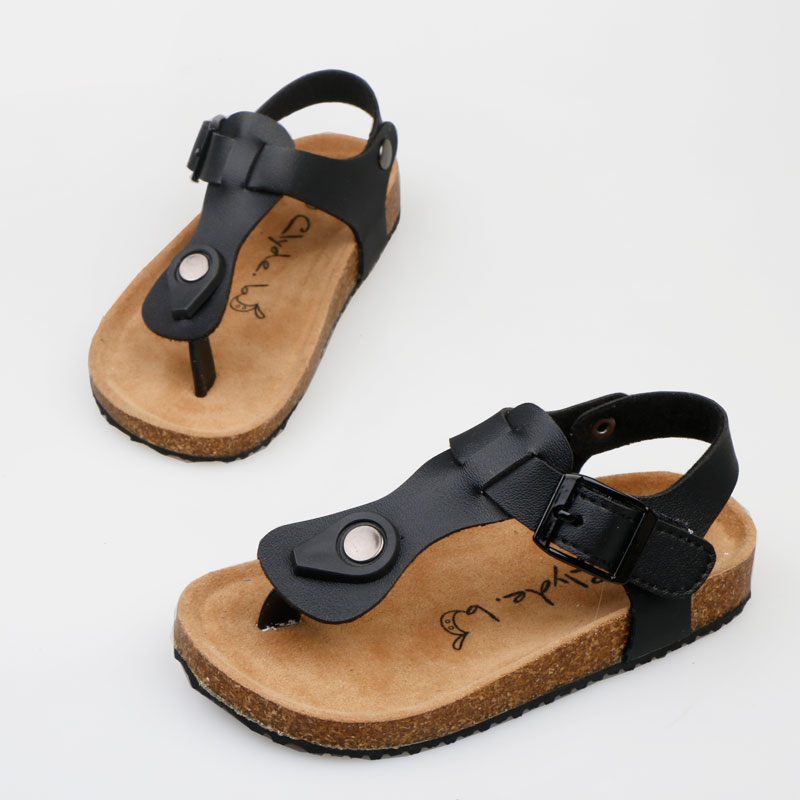 Children Slides Boy Girl Sandals Cool Design With Cork Flat Shoes Non-Slip Casual Summer Toddler Sandals Leather Sandals Kids