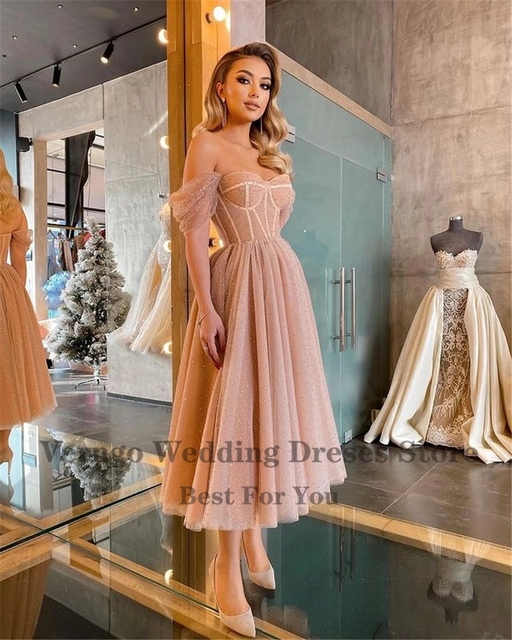 Verngo Dusty Pink Dotted Tulle Evening Party Dresses Off the Shoulder Corset Short Prom Dress Tea Length Midi Formal Wear Gown 2