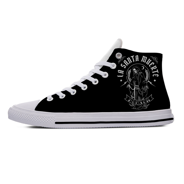 SANTA MUERTE MEXICAN DEATH GOTH SKULL THEMED HIGH TOP SHOES