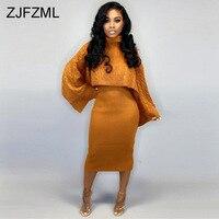 Осенне-зимний вязаный свитер, комплект из двух предметов, водолазка с длинным рукавом, Свободный укороченный топ + Бандажное миди платье на ...