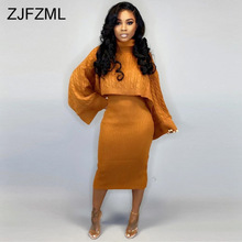 Autumn Winter Knitted Sweater Two Piece Set Turtleneck Long Sleeve Loose Crop
