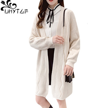 UHYTGF Long Cardigan Female Long Sleeve Cardigan spring Autumn sweater women Solid color Twist V-neck plus size Knit Sweater 218 фото