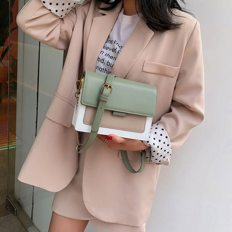 Oeak Contrast Color Leather Crossbody Bags For Women 2019 Travel Handbag Simple Shoulder Messenger Bag Ladies Cross Body Bag