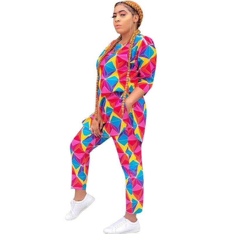 African Sets For Women Long Sleeve African Elastic Bazin Baggy Pants Rock Style Dashiki Famous Suit Lady 2 Piece Women Set
