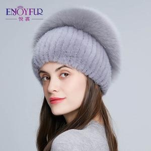 Image 3 - Enjoyfurリアルキツネの毛皮の帽子女性の自然なミンクの毛皮女性の冬帽子垂直ラインストーン高品質ビーニーファッションキャップ