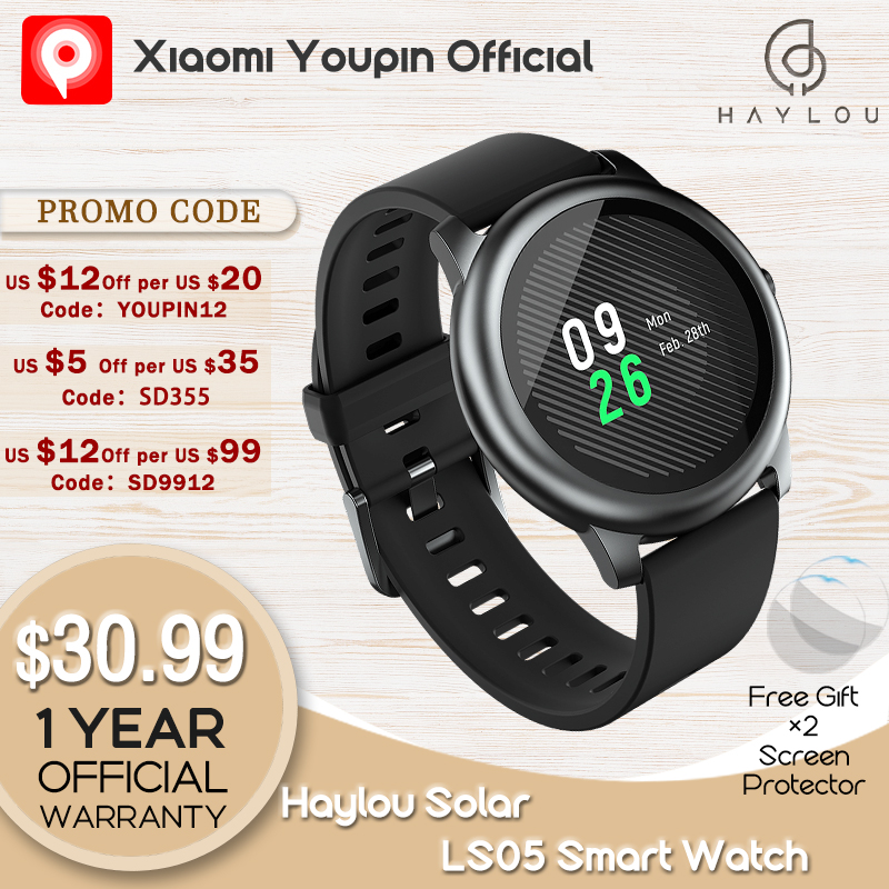 Haylou Solar LS05 Smart Watch Sport Metal Heart Rate Sleep Monitor IP68 Waterproof iOS Android Global Version for Xiaomi YouPin|Smart Watches| - AliExpress