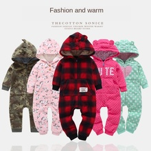 Winter Spring Fleece Boy Girl Children Newborn Baby Rompers Thick with Hats Baby Climbing Clothes Jumpsuit 2017 quality jumpsuit print baby rompers warm autumn winter boy girl newborn children clothes kids baby clothing suit set