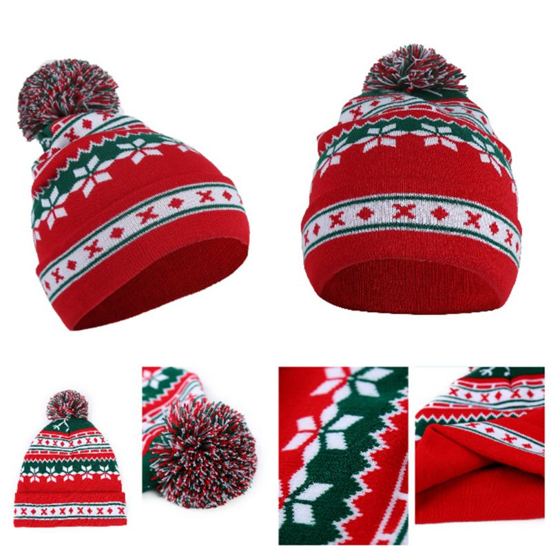 Women Men Christmas Santa Claus Snowflake Knitted Cap Winter Warm Contrast Color Stripes Cuffed Beanie Hat With Pompom Ball Gift