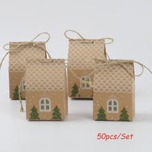 Behogar 50pcs Merry Christmas Candy Packaging Treat Goodie Box Party Favors Kraft Paper Bag