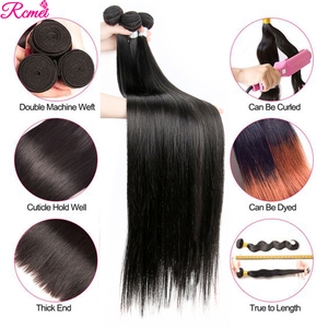 Image 3 - Brazilian 36 38 40 Straight Human Hair Weave Bundles with Closure Long 3 Bundles With Lace Closure 4*4  Remy Human Hair Bundles