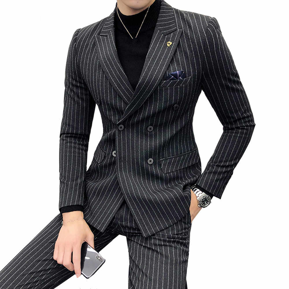 Men Double-breasted Suit Two-piece Slim Fashion Stripe Autumn New Social Business Casual Temperament British Wind Wedding Dress