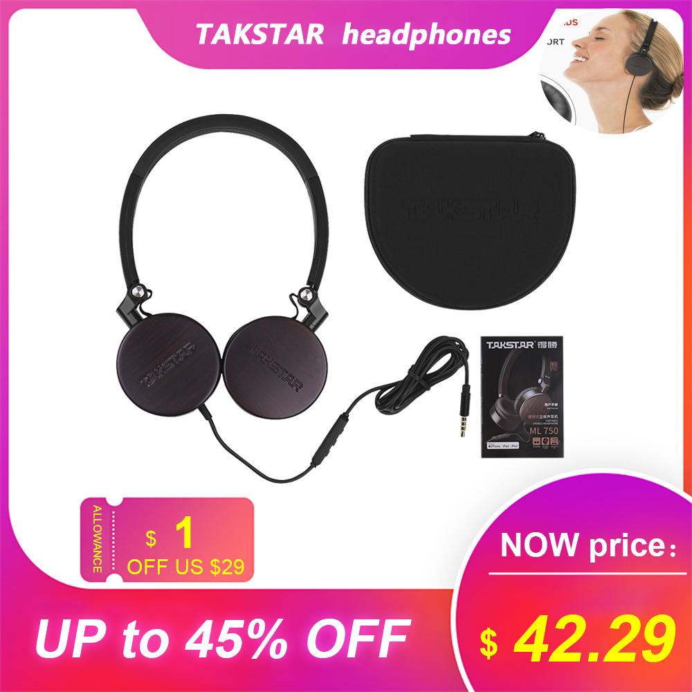 TAKSTAR ML 750 MFi Certificated Sandalwood Over Ear Headphone With Mic Noise Cancelling Wired Dynamic Headsets With Carry Case
