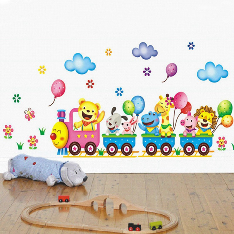 Best Train Wall Sticker for Kids Room Home Decor Nursery Wall Decal Children Poster Baby House Mural DIY Hot Sell image