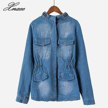Xnxee 2019 Denim Jacket Autumn/Fall Women Ripped Hole Design Pocket Blue Slim Waist Jeans Jackets Coats Outerwear недорого