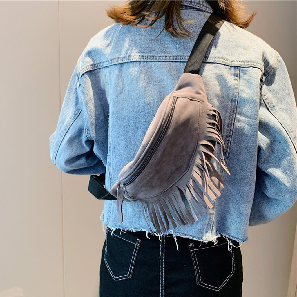 MUQGEW Messenger-Bag Waist-Bag Zipper Retro-Design Solid-Color Fashion Women Tassel -806