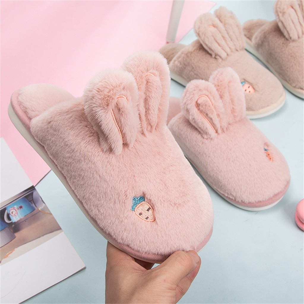 Jaycosin Winter Home Slippers Women Warm Cotton Rabbit Floor Cuty Rabit Ear Shoes Non-slip Home Rabbit Ears Slipper shoes woman 2
