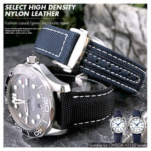 19mm 20mm tecido náilon pulseira de relógio preto azul implantação fivela relógio banda para omega at150 seamaster 300 aqua terra pulseira