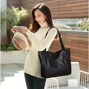 Image 2 - Luxury Womens Soft Leather Handbags Designer Brand Large Capacity Woven Shoulder Bags Ladies Casual Totes Black Travel Bags