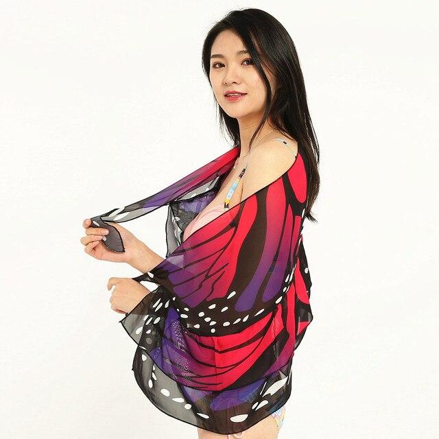 Sagace Skirt Women Butterfly Print Chiffon Sunscreen Shawl Beach Bikini Swimwear Wrap Coverup Skirt Swimsuit Cover Up Skirt 10